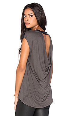 BCBGMAXAZRIA Drape Back Top in Charcoal