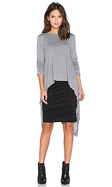 BCBGMAXAZRIA Drape Back Crop Top in Heather Grey