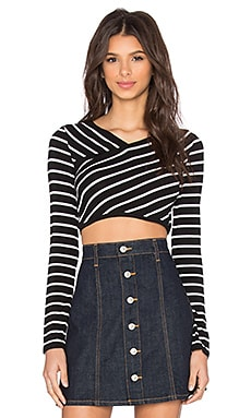 BCBGMAXAZRIA Brinli Crop Top in Black & Off White Combo