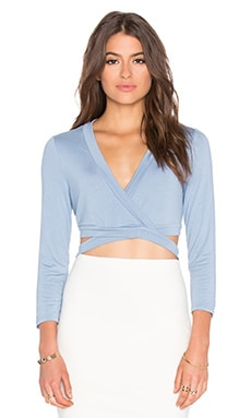 BCBGMAXAZRIA Lorren Cross Front Crop Top in Shadow Blue