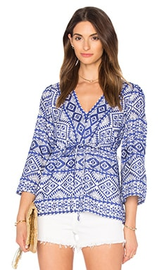 Covina Blouse in Orient Blue Combo