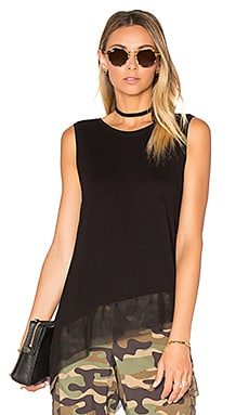 BCBGMAXAZRIA Sheer Hem Tank in Black