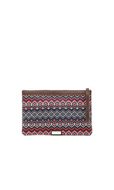 BCBGMAXAZRIA Tera Woven Border Clutch in White Combo