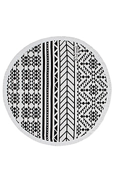 The Beach People Aztec Round Towel in Black and White Print