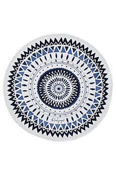 The Beach People Majorelle Round Towel in Shades of Blue Print