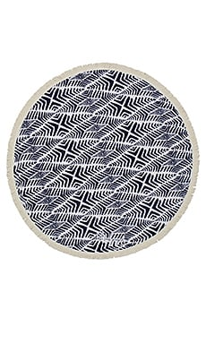 The Beach People Paradis Round Towel in Navy Blue Print