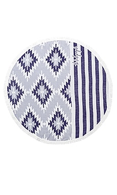 The Montauk Round Towel in Blue & White