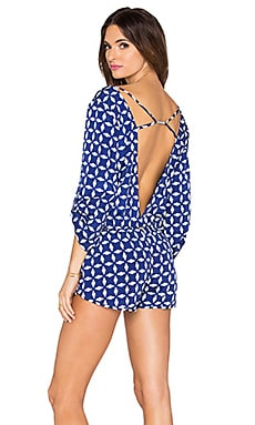 Beach Bunny Lost Paradise Romper in Navy & White