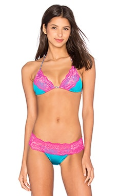 Beach Bunny Lady Lace Tri Top in Turquoise & Fuchsia