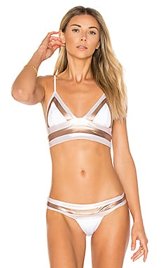 Tequila Sunrise Long Line Bralette Bikini Top en Blanco