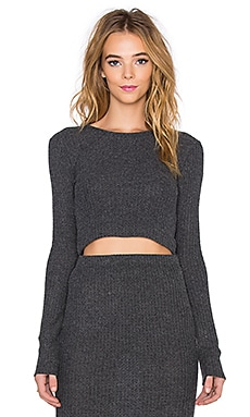Beautiful People Long Sleeve Crop Top in Charcoal