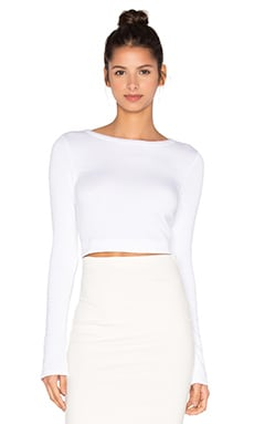 Crop Long Sleeve Tee en Blanco