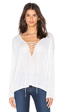 V Neck Lace Up Top in White