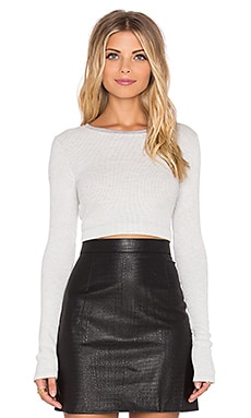Long Sleeve Crop Top en Gris