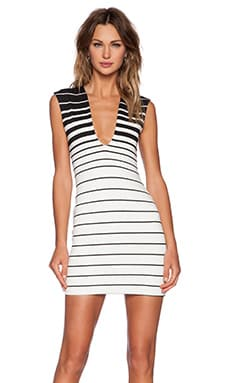 BEC&BRIDGE Reversible V Neck Dress in Stripe