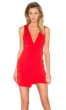 Desert of Paradise Deep V Mini Dress in Red