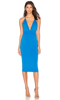 Electric Deep V Dress in Coblat