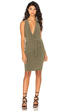 Montana Plunge Tie Dress in Khaki