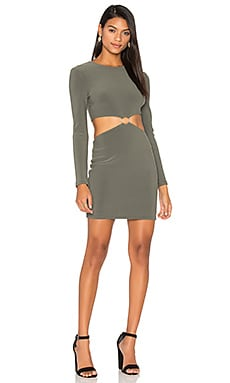 Montana Cut Out Long Sleeve Dress in Khaki