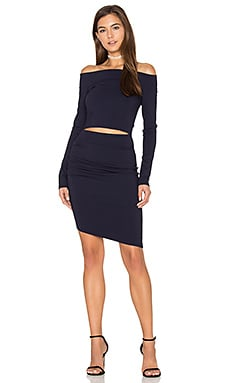 Trixie Off The Shoulder Long Sleeve Dress in Navy