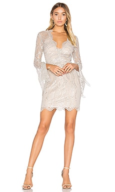 Mirror Palace Plunge Dress in Sandstone & Silver