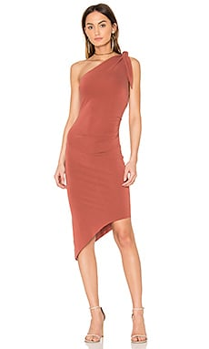 Titania Asymmetrical Midi Dress en Rust