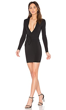 India Rosa Long Sleeve Tie Dress en Noir