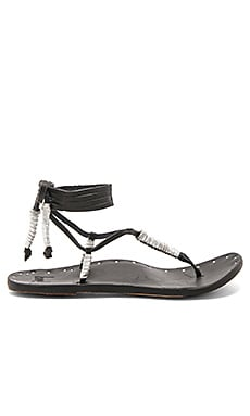 The Crane Sandal in Black & Silver & Black