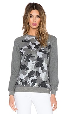 HEMANT AND NANDITA Sequin Raglan Sweatshirt in Dark Grey