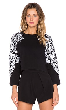 HEMANT AND NANDITA Embroidered Sleeve Crop Sweatshirt in Black