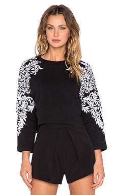 HEMANT AND NANDITA Embroidered Sleeve Crop Sweatshirt en Noir