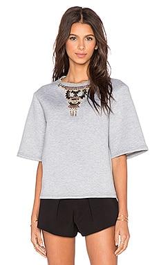 HEMANT AND NANDITA Embellished 3/4 Sleeve Sweatshirt en Gris