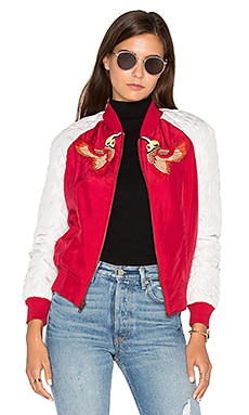 Bird Bomber Jacket in Red Chinese Floral