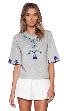 HEMANT AND NANDITA Crystal Short Sleeve Sweatshirt in Light Grey & Turquoise Diamond