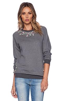 HEMANT AND NANDITA Crystal Neckline Sweatshirt in Dark Grey & Green Diamond