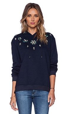 HEMANT AND NANDITA Crystal Hoodie in Solid Dark Navy