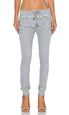 HEMANT AND NANDITA Crystal Sweatpant in Solid Grey & Light Turquoise Diamon