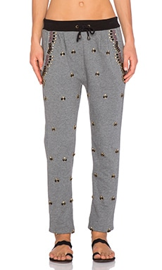 HEMANT AND NANDITA Front Stone Embellished Sweatpant in Grey