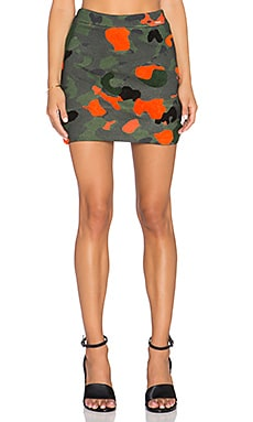 Embroidered Camo Mini Skirt in Green