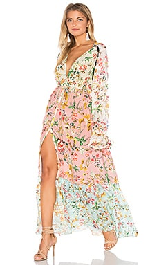 HEMANT AND NANDITA Cape Maxi Dress in Multi Chinese Floral