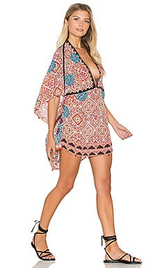 Deep V Caftan Dress in Red Rili Art