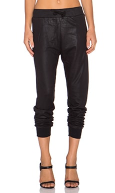 Benjamin Jay Raven Wax Coated Jogger in Black Wax