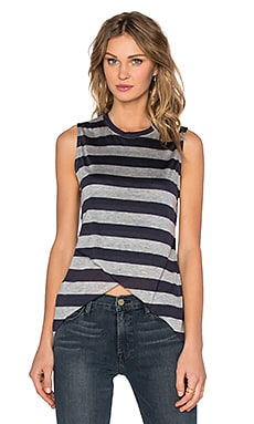 Slider Tank in Navy Grey Stripe
