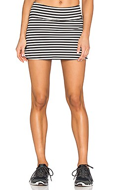 Beyond Yoga x Kate Spade Side Bow Slit Skirt in Black & Cream Stripe