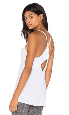 Beyond Yoga Sleek Stripe Layered Back Tank in White