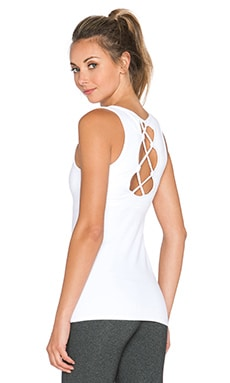 Beyond Yoga Open Back Criss Cross Tank in White