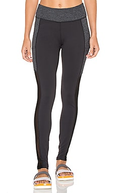 Beyond Yoga Row Pocket Mesh Long Legging in Black & Heather Gray