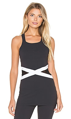 Beyond Yoga X-Marked Mesh Tank in Black