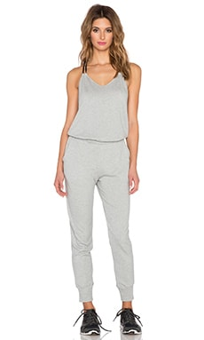 Beyond Yoga French Terry Mesh Back Jumpsuit in Heather Grey