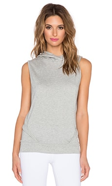 Beyond Yoga French Terry Sleeveless Hoodie in Light Heather Grey